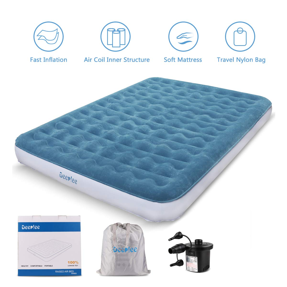 Deeplee Air Mattress Queen Size Blow up Airbed Inflatable Mattress with Air Pump for Home, Camping, Guest Bed, Height 9 inch, Storage Bag AH003