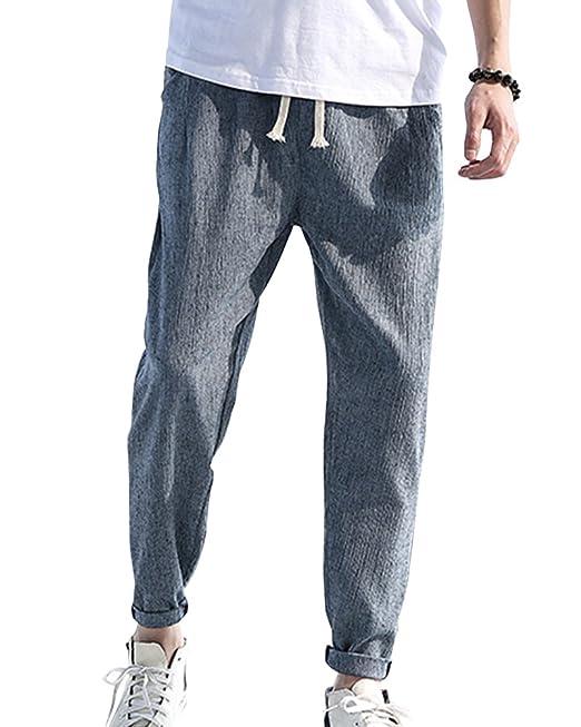 edfc58ed07c ShiFan Pantalón Lino para Hombre Baggy Casual Harem Pantalones Ropa Etnica:  Amazon.es: Ropa y accesorios