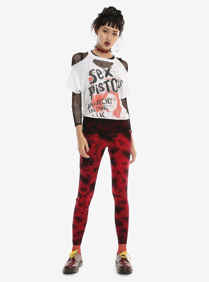 9634c40c20bbc Amazon.com: Hot Topic Blackheart Red & Black Tie Dye Leggings: Clothing