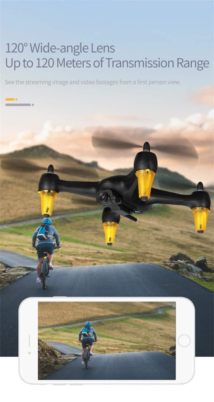 MOZATE JJR/C X3P GPS 5.8G WiFi FPV Wide-Angle 1080P Brushless RC Quadcopters Drone RTF (Black) by MOZATE (Image #6)