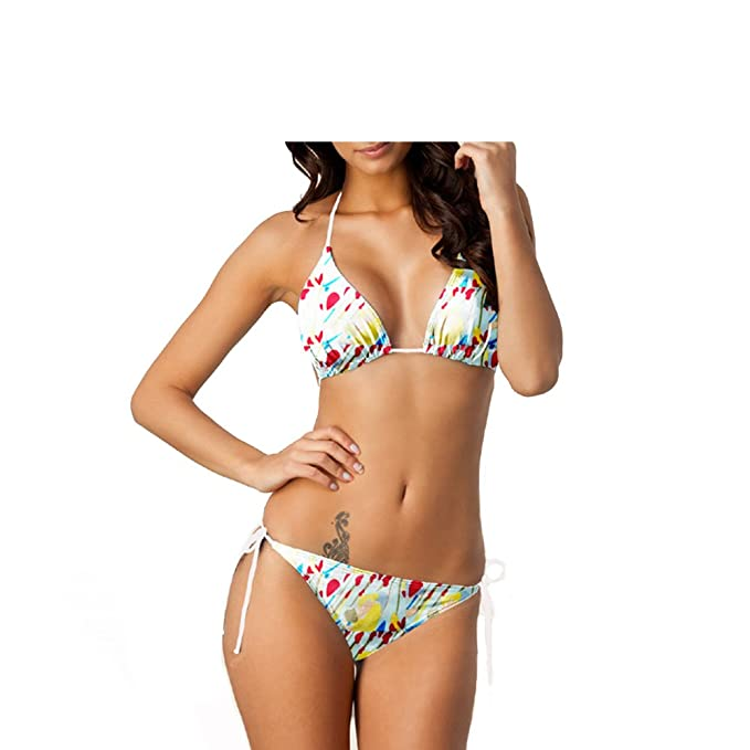 652fed4b45 Amazon.com: Sexy Strappy Color Block Floral Print Caged Bikini Two Piece Swimwear  Trendy Style Swim Suits Beach Bathing Summer Pool Party: Clothing