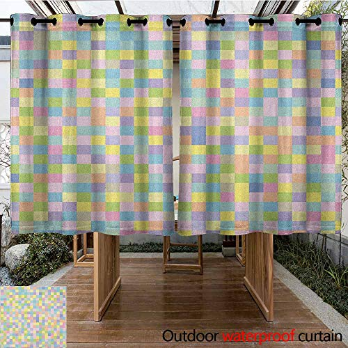 - AndyTours Grommet Outdoor Curtains,Pastel,Colorful Squares Pattern Checkered Mosaic Style Mottled Cubical Tile Grid Print,Great for Living Rooms & Bedrooms,K183C115 Multicolor