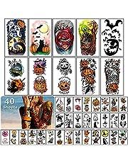 40 Vellen Halloween Tijdelijke Tattoos voor Kinderen en Volwassenen, Halloween Make-up Maskerade Partij Cosplay Kostuums Gezicht Decals Masker Zombie Vampier Heks Pompoen Lantaarn Tattoo Stickers