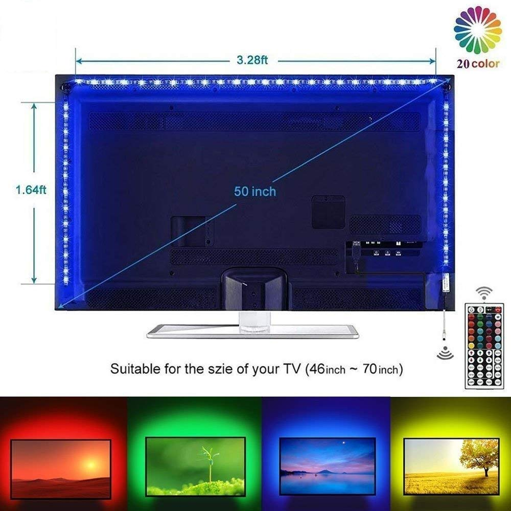 LED Strip Lights, LEHOU 2M LED TV Backlight Lamps USB Bais Lighting RGB LED Strip with 44Keys Remote Control for HDTV, Flat Screen TV LCD, PC Monitor, Cabinets, Home Theater