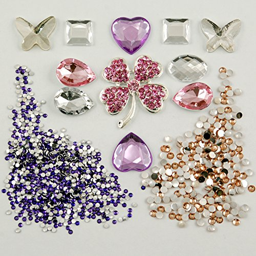 Frog-tech® Bright Bling Rhinestones Lucky Grass Deco Kit Colored Flat Back DIY Material