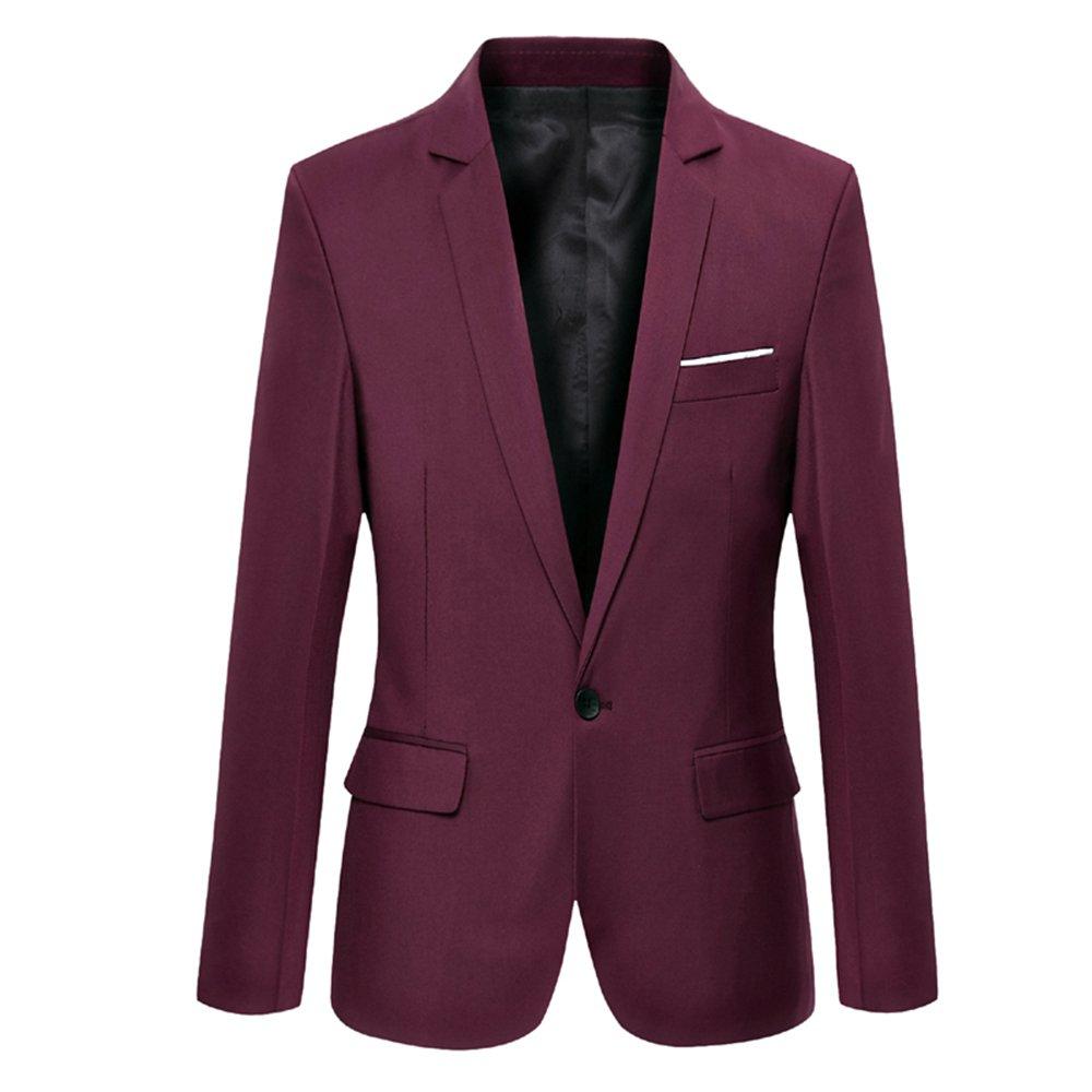 DAVID.ANN Men's Slim Fit One Button Casual Blazer Jacket,Wine Red,X-Large