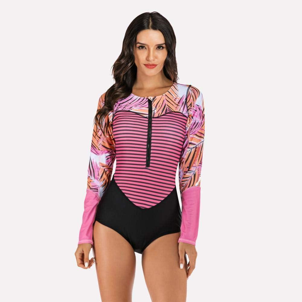 Bikini Floral Print One Piece Swimsuit Long Sleeve Swimwear Women Bathing Suit Women Rash Guard Long Sleeve Swimsuit