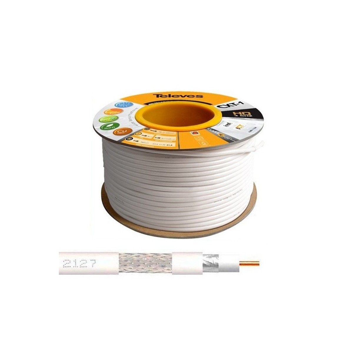 100M Cable Coaxial Blanco 17 VATCS ClassA Televes 2127 CXT-1-2127 Televes