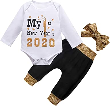 Headband Tutu Dress 3pcs Clothes Set Baby Girl 2020 New Year Tutu Dress Outfit My 1st New Year Romper Skirt Sets