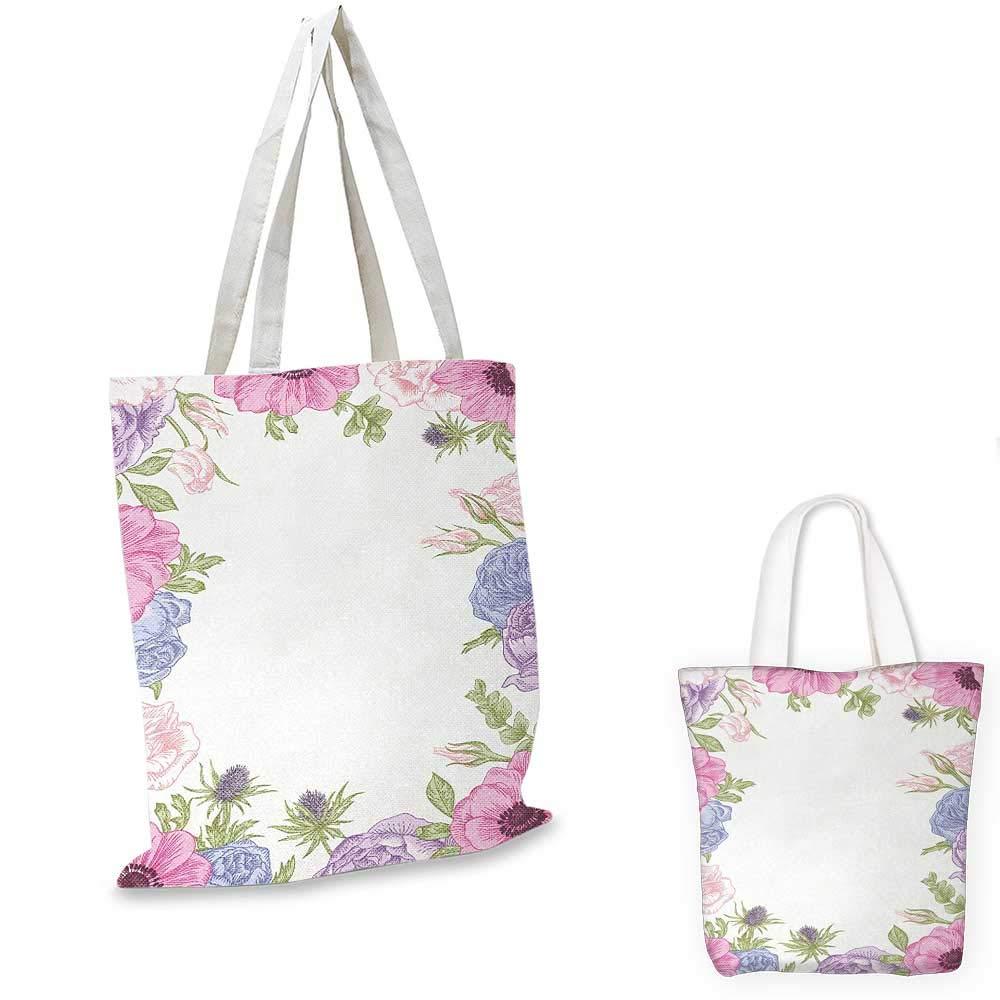 Anemone Flower canvas messenger bag Hand Drawn Framework with Fresh Summer Flora Bridal Wedding Theme canvas beach bag Pink Pale Blue Green 14x16-11