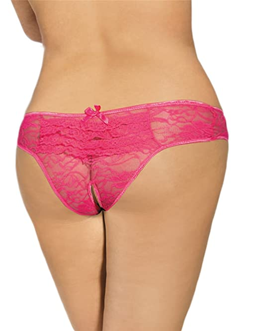 new ladies pink lace crotchless knickers underwear sleepwear valentine underwear