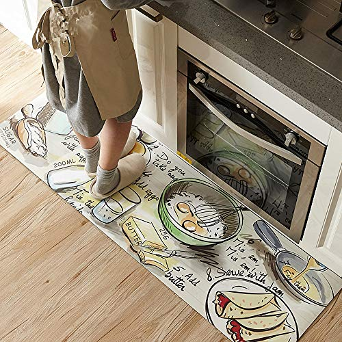 Ustide Accent Kitchen Rug With Latex Backing,17.7''x70.9'' Food Diary by USTIDE