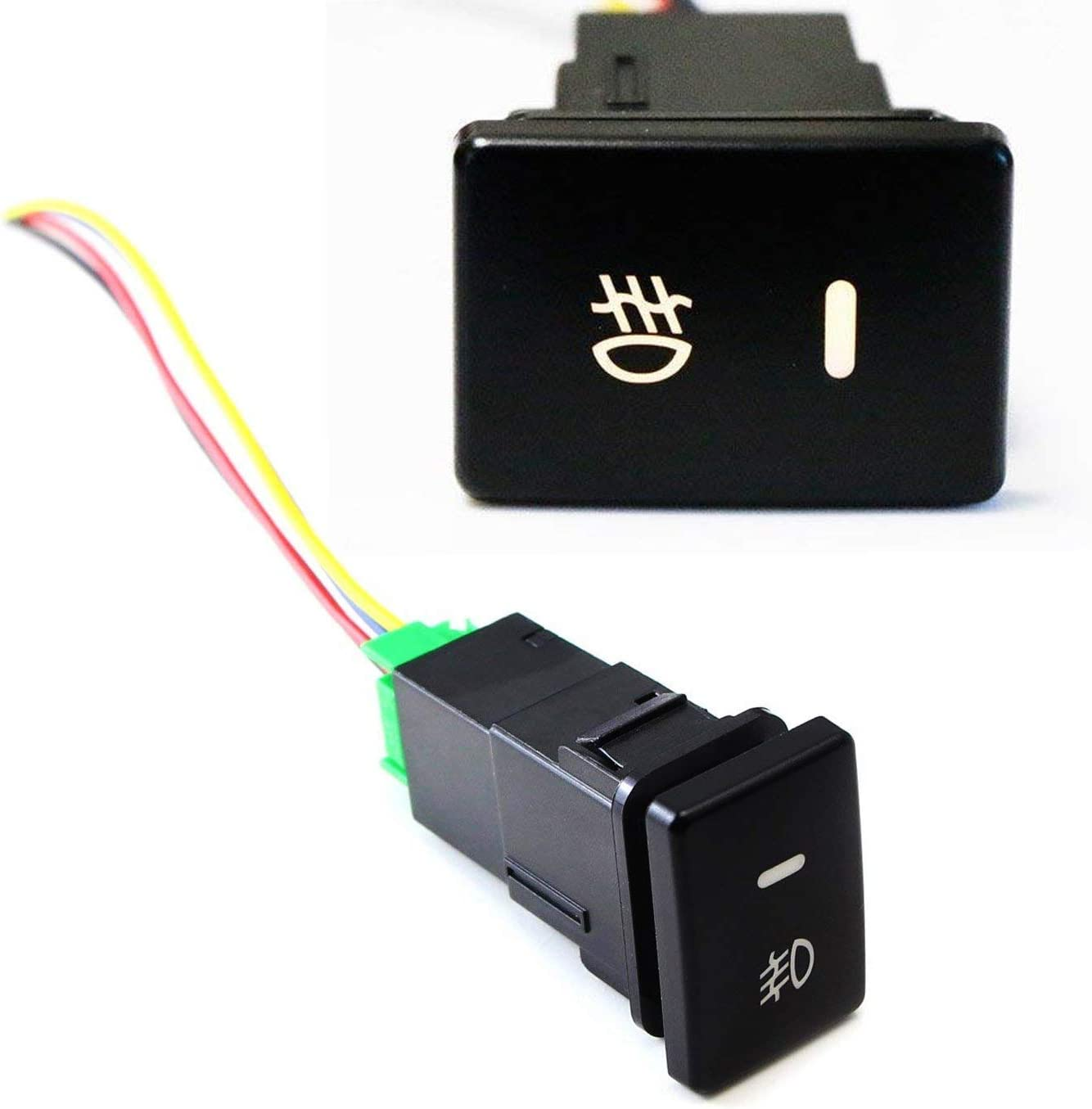 Details about  /Toyota Direct Fit Work Lights Push Button Switch With Pigtail Green LED