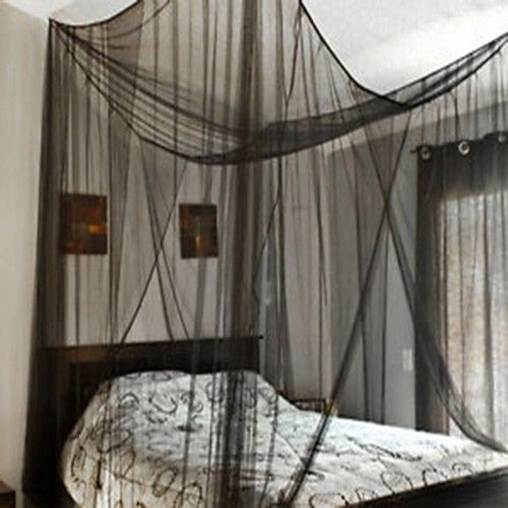 4 Corner Post Bed Canopy Mosquito Net Full Queen King Size Netting Black Bedding JDM Auto Lights