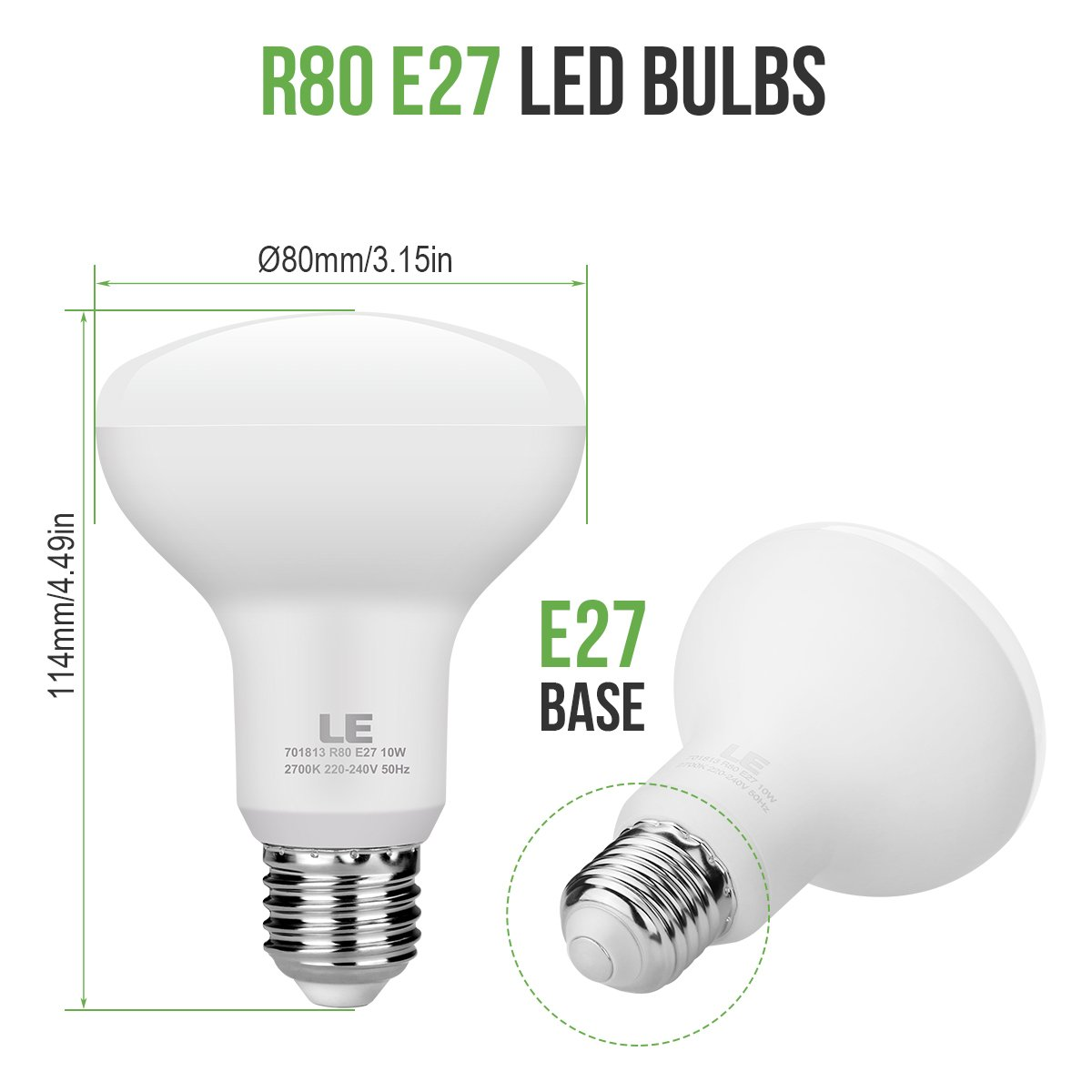 LE Bombilla LED E27 10W=60W Incandescente, Blanco cálido 2700K, Bombilla reflectora R80: Amazon.es: Iluminación