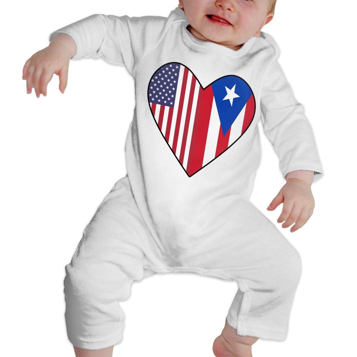 Infant Babys Cotton Long Sleeve Half Puerto Rico Flag Half USA Flag Love Heart Climb Jumpsuit One-Piece Romper Clothes