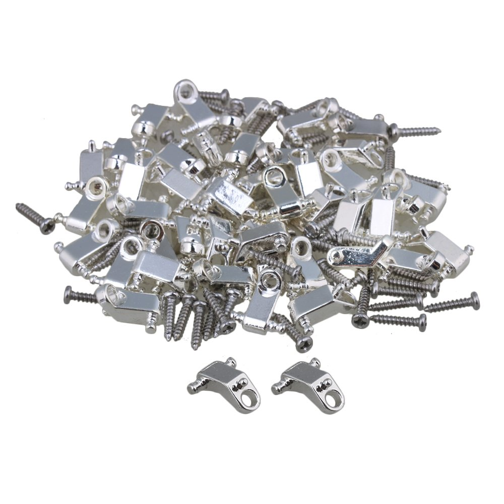Yibuy Silver Copper Roller Electric Guitar String Tree Guides Retainer w/ Screws Pack of 200