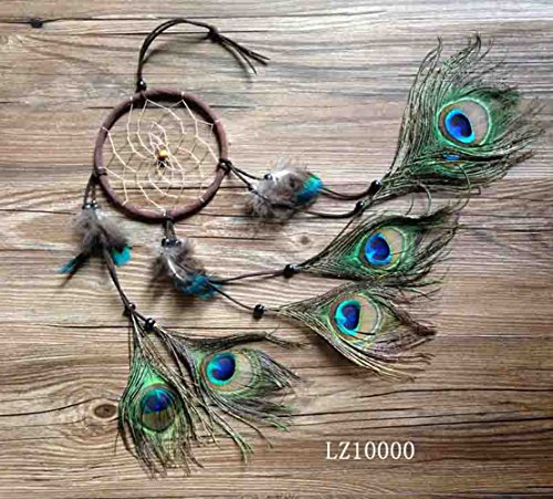 Ricdecor Indian Dream catcher Wind Chimes Feather Pendant wall hanging home decoration (Peacock Feathers)