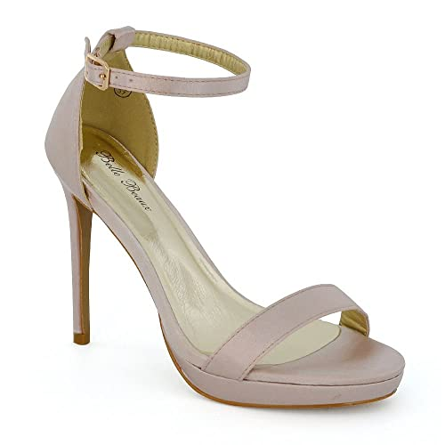 ff4ede0ac801 ESSEX GLAM Womens Ankle Strap High Heel Sandals Ladies Satin Bridal Prom  Bridemaid Party Platform Shoes Size 3-8  Amazon.co.uk  Shoes   Bags