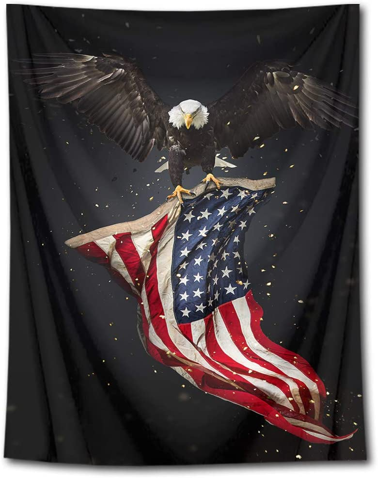 HVEST American Flag with Bald Eagle Tapestry Stars and Stripes Flag Tapestry Wall Hanging Haliaeetus leucocephalus American Culture Wall Art Backdrop for Bedroom Home Dorm Decor 40Wx60H inches