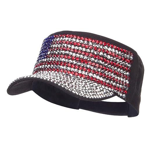 c4ee6222a9e SS Hat USA Flag Jewel Military Cap - Black OSFM at Amazon Women s ...
