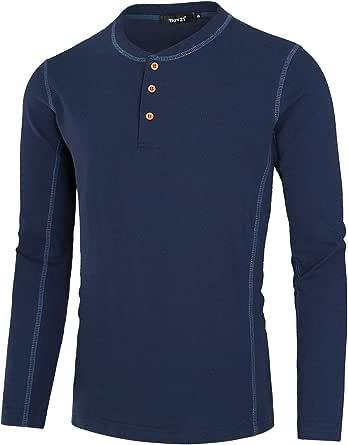 TATT 21 Camiseta Henley De Manga Larga Jersey De Algodón Ligero Casual para Hombre: Amazon.es: Ropa y accesorios