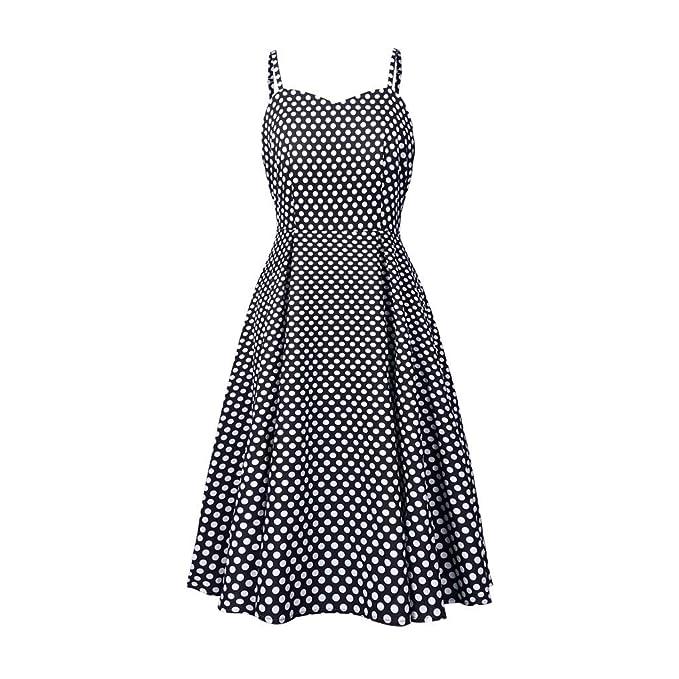 Women Sleeveless Polka Dots Strappy Camisole 50/'s Vintage Swing Dress Plus Size