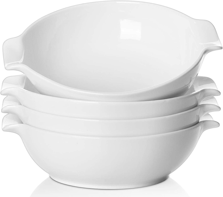 SAMSLE Serving Bowls,33 Ounces Big Salad Bowls, Porcelain Serving Bowl Set with Handles, White Bowl Set for Salad, Soup,Fruit, Set of 4