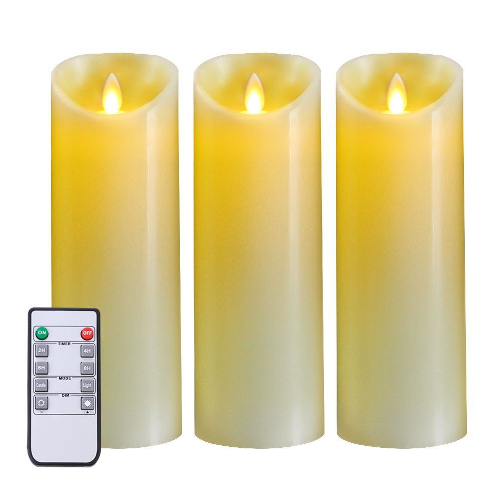5PLOTS Real Wax Flameless Candles - Set of 3 LED Flickering Amber Yellow Flame - Indoor and Outdoor Battery Operated with Remote Control Timer - Battery Operated, Moving Wick - Great Gift Idea