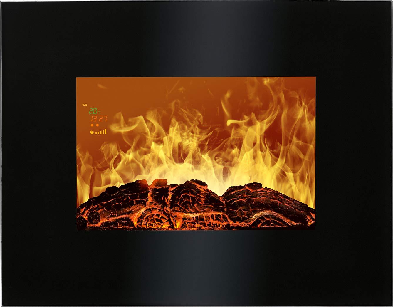 Bomann EK 6020 CB Chimenea eléctrica decorativa de pared, efecto llama ardiendo regulable, programable, mando distancia 900W/1800W, 66 x 52 x 9,5 cm 900 W, ...