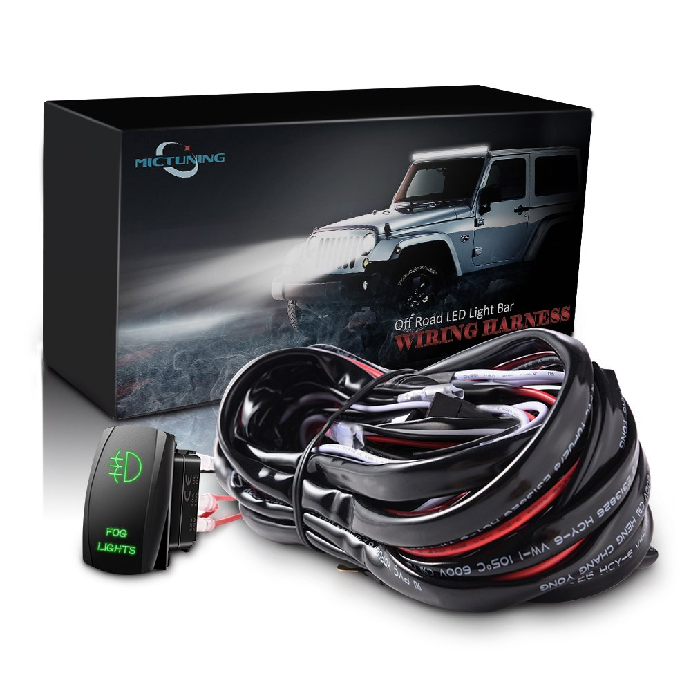 61ACJLxwzlL._SL1000_ amazon com mictuning led light bar wiring harness 40amp relay Aux Wire for Car at honlapkeszites.co