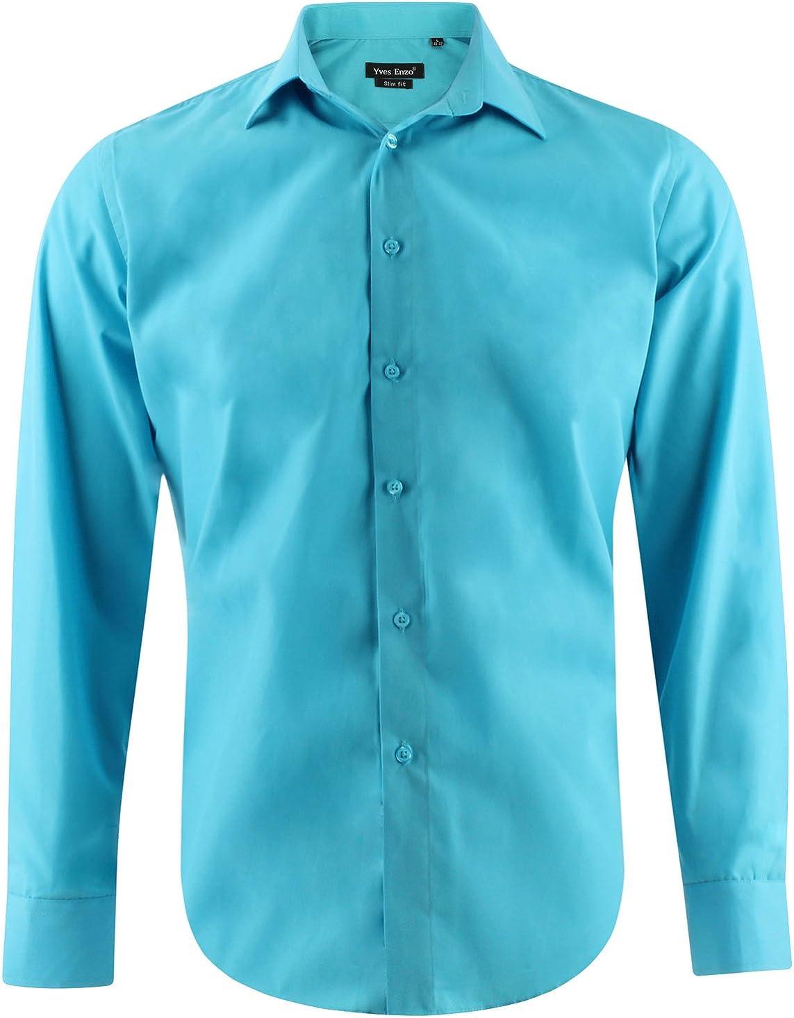 Enzo Camisa Slim Fit Turquesa Para Hombre con Manga Larga Shirt Talla XL: Amazon.es: Ropa y accesorios