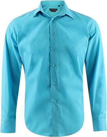 Enzo Camisa Slim Fit Turquesa Para Hombre con Manga Larga Shirt Talla L: Amazon.es: Ropa y accesorios