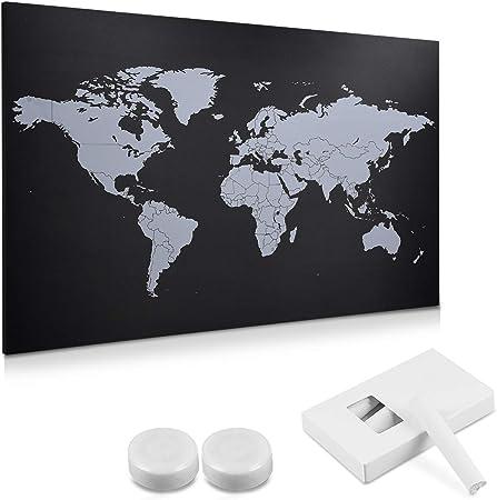 Navaris Pizarra Negra con mapamundi - Planificador con imanes tizas Blancas y Set de Montaje - Tablero Organizador 60 x 40CM: Amazon.es: Hogar