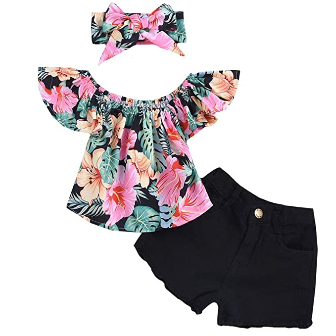 ecfe637f17a 3Pcs Set Toddler Baby Girl Summer Outfits Floral Print Ruffle Off Shoulder  Tops+Jeans