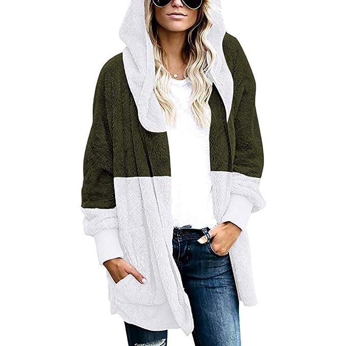 Jaminy Damen Mantel Teddy Cardigan Oversize Plüschjacke Winterjacke Lang Coat Parka Outwear Mit Tasche Einfarbig Warm (Größe?