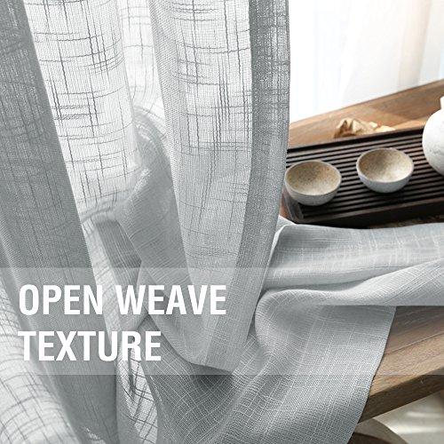 Linen Look Sheer Valance Bedroom 16 inch Length Valances Windows Rod Pocket Curtain Valance Grey Living Room, 1 Panel, Grey by jinchan (Image #3)'