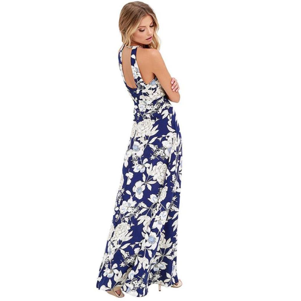 fd3da0a8d0e Women Summer Boho Long Maxi Dress Evening Party Beach Halter Empire Sundress  Zulmaliu at Amazon Women s Clothing store