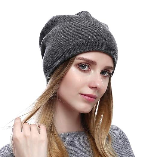 Winter Women Beanie Warm Wool Slouchy Hat Cashmere Caps Knit Solid ... f5c94d1fd72