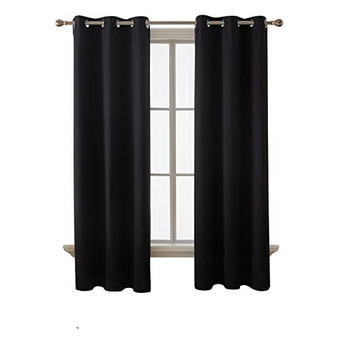 Deconovo Room Darkening Thermal Insulated Blackout Grommet Window Curtain  For Bedroom, Black,42x84