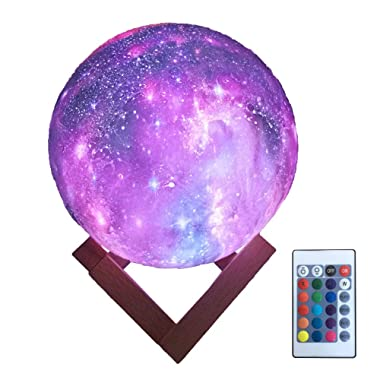 HYODREAM 3D Printing Moon Lamp Moon Light Kids Night Light 16 Color Change Touch and Remote Control Star Light As a Gift Ideas for Boys or Girls(5.9inch)
