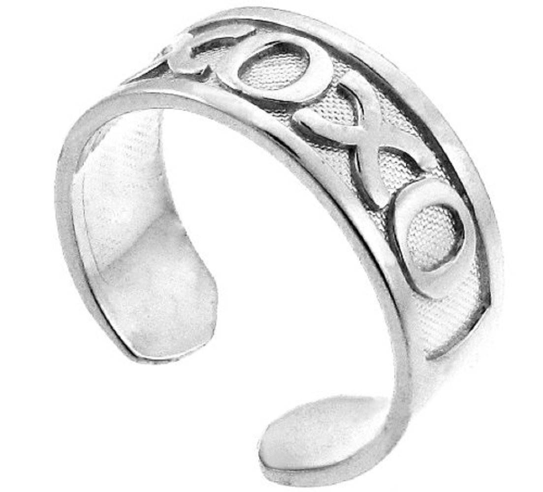 14k White Gold Hugs and Kisses XOXO Toe Ring by More Toe Rings (Image #1)