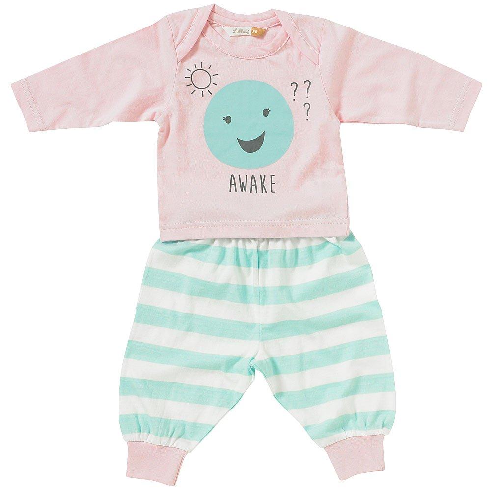 Lullaby Baby Girls Cute Sleepy Awake Face Striped Pyjamas