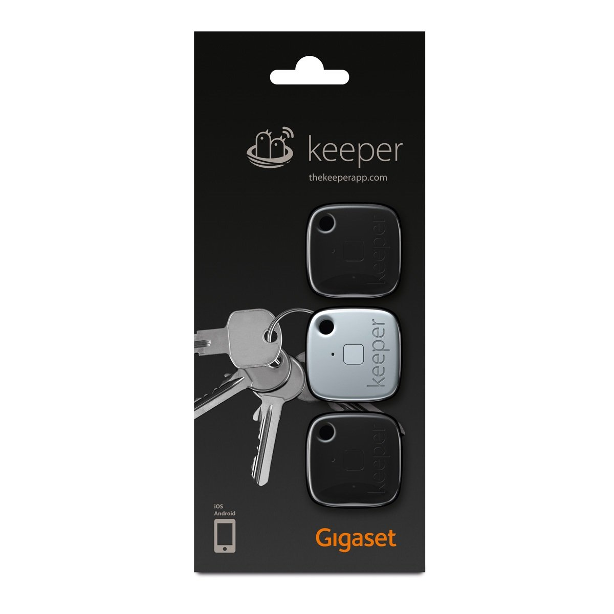 Gigaset Keeper Bluetooth Negro, Blanco - Localizadores de Llaves (Negro, Blanco, IPX7, 37 mm, 9,2 mm, 37 mm, 12 g)