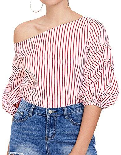 Romwe Women's Off Shoulder 3/4 Sleeve Striped Shirt Blouse Top Pink (Ruffle Detail Blouse)