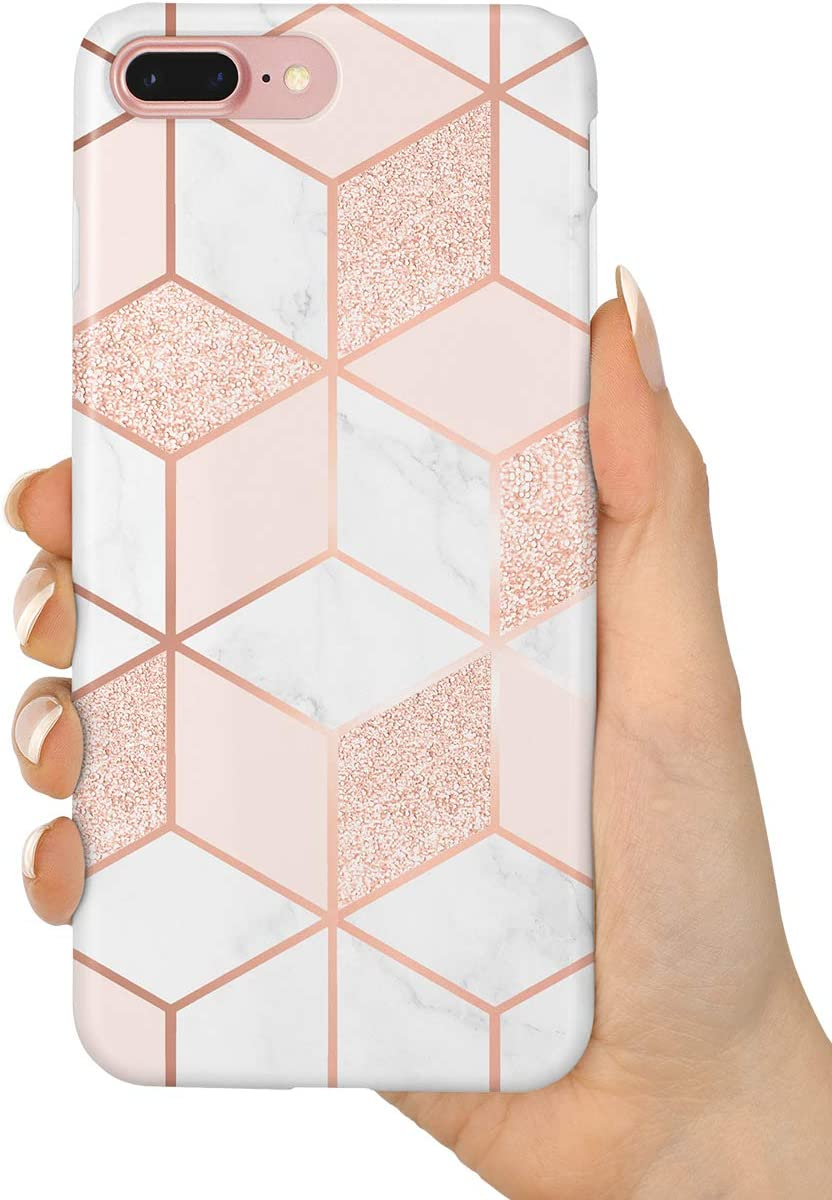 "uCOLOR Case Compatible iPhone 8 Plus/7 Plus 6s Plus/6 Plus Cute Case Rose Gold Sparkle Glitter Pink White Marble Soft TPU Silicone Shockproof Cover Compatible iPhone 8 Plus/7 Plus/6S Plus/6 Plus(5.5"")"