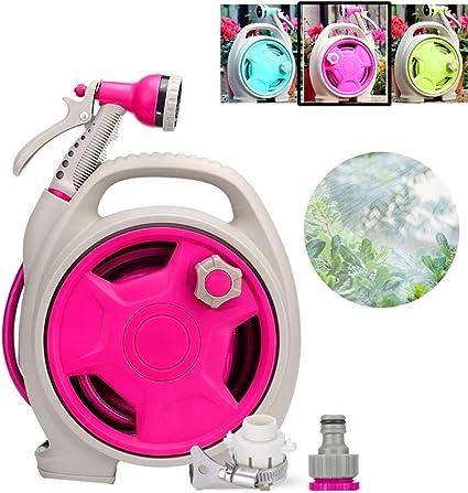 WAJIEFD Portamanguera de Riego, Enrollador de Manguera Riego de Jardines Pistola de Agua for Lavado de Autos, 3 Colores (Color : Pink, Size : 28X13X32CM): Amazon.es: Hogar