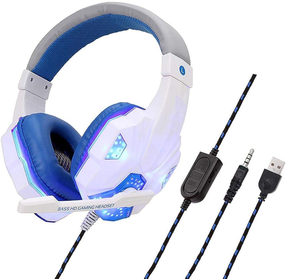 Youyababay Auriculares estéreo avanzados con micrófono, Auriculares para Juegos con cancelación de Ruido Envolvente, cancelación de Ruido Envolvente de Bajos, Acolchado y Diadema Ajustable