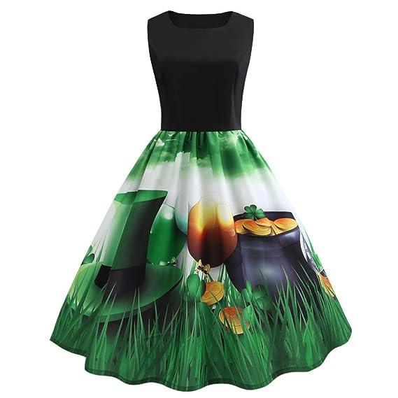 DoraMe Vestito Donna Elegante per St. Patrick s Day 1cb2cb927a2