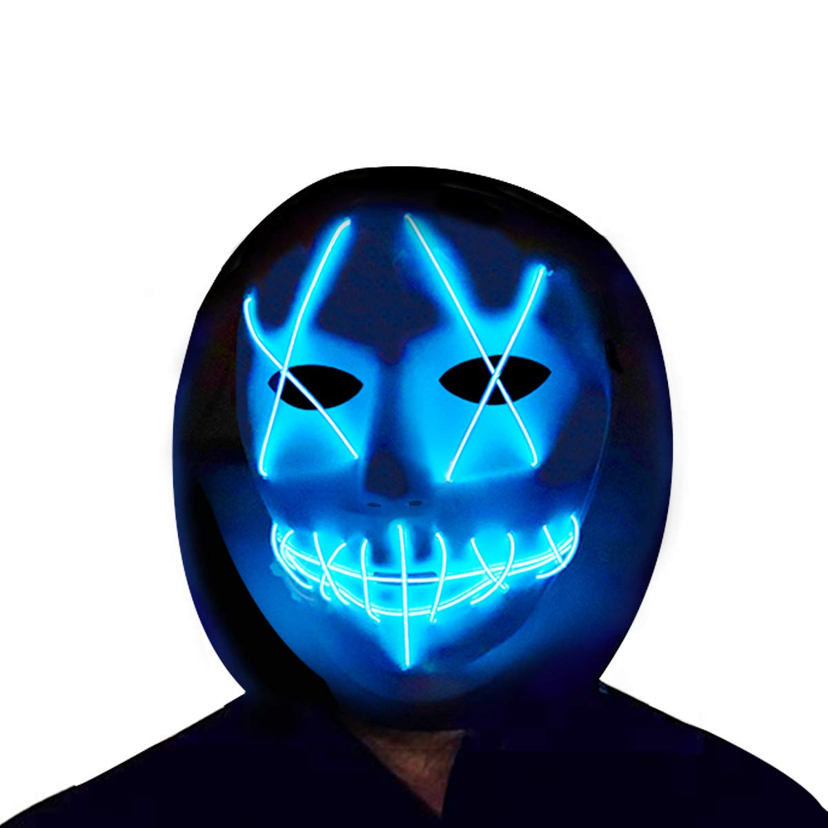 Halloween LED Mask Light Up Purge Mask Glow in The Dark Cosplay EL Wire Halloween Festival Party Supplies White X-Blue) CHARMCZ